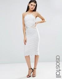 Платье-футляр миди с кружевными вставками ASOS TALL - Серый