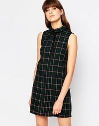 Клетчатое платье без рукавов с воротником Influence - Зеленая клетка