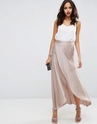 Атласная юбка макси с запахом ASOS - Серо-коричневый