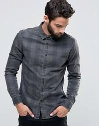 Джинсовая рубашка скинни в клетку с длинными рукавами ASOS - Черный