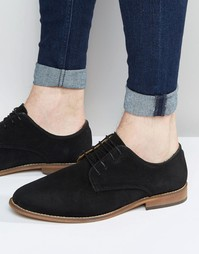 Черные замшевые туфли дерби с натуральной подошвой ASOS - Черный