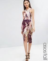 Платье-футляр с мраморным принтом ASOS TALL