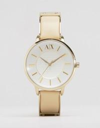 Часы с бежевым кожаным ремешком Armani Exchange Olivia AX5301