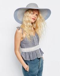 Большая соломенная шляпа серебристого цвета с контрастной лентой ASOS