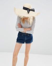 Большая соломенная шляпа с необработанными краями и бантом ASOS