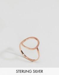 Покрытое розовым золотом серебряное кольцо с контурным кругом ASOS