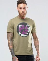 Футболка цвета хаки с большим принтом PS Paul Smith - Хаки