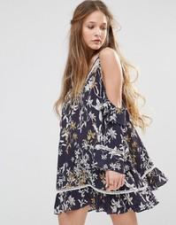 Платье с вырезами на плечах Stevie May Wanderer - Темно-синий