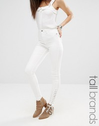 Облегающие джинсы со шнуровкой Missguided Tall - Белый
