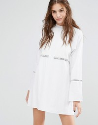 Платье мини с длинными рукавами Stevie May Rodeo Show - Белый