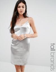 Платье-комбинация цвета металлик Glamorous Tall - Серебряный