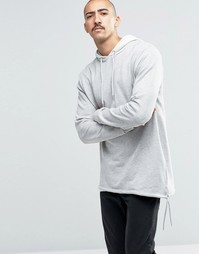 Oversize-худи с капюшоном и кромкой на шнурке ASOS - Серый меланж