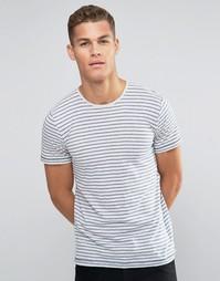 Выбеленная меланжевая футболка в полоску Esprit - Темно-синий