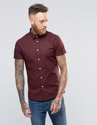 Темно-сливовая рубашка скинни с короткими рукавами ASOS