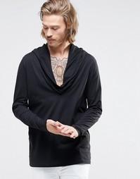 Длинная футболка с драпировкой ASOS - Черный