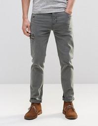 Серые эластичные джинсы слим с потертостями ASOS - Серый