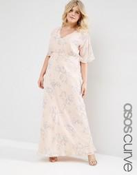 Платье макси с розами ASOS CURVE WEDDING - Телесный