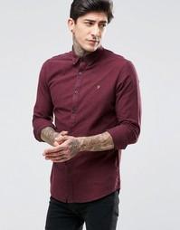 Бордовая оксфордская рубашка зауженного кроя Farah - Bordeaux