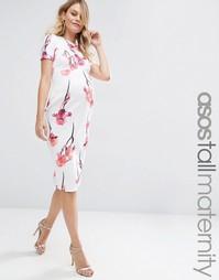 Платье-футляр для беременных с красным цветочным принтом ASOS Maternit