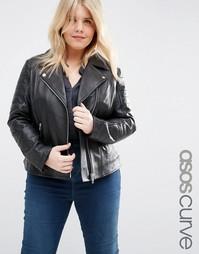 Кожаная байкерская куртка ASOS CURVE - Черный