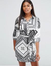 Платье-рубашка с черно‑белым принтом Parisian
