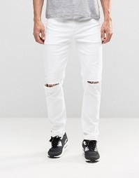 Белые эластичные джинсы с рваными коленями ASOS - Белый