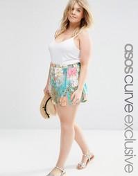 Пляжные шорты с боковыми разрезами и цветочным принтом ASOS CURVE