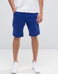 Суженные книзу джинсовые шорты G-Star Elwood 5620 3D - Ярко-синий