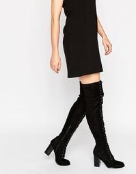 Ботфорты на каблуке со шнуровкой Public Desire - Черный замшевый