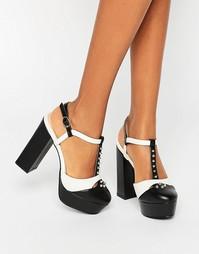 Туфли на платформе с заклепками и Т-образным ремешком Daisy Street