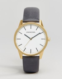 Часы с темно-синим кожаным ремешком UNKNOWN Classic - 39 мм