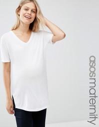 Свободная футболка в рубчик с V‑образным вырезом ASOS Maternity