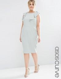Облегающее платье с оборкой ASOS CURVE - Зеленый шалфей