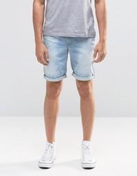 Потертые джинсовые шорты слим Blend Twister - Светло-голубой
