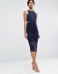 Облегающее кружевное платье миди с вырезом сзади ASOS - Темно-синий