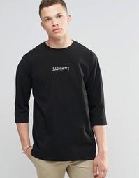 Oversize-футболка с рукавами 3/4 и принтом римских цифр ASOS - Черный