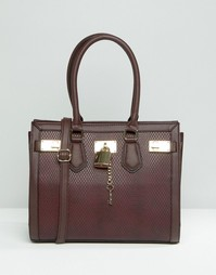 Плотная сумка-тоут с отделкой под змеиную кожу ALDO - Темно-бордовый