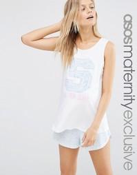 Пижамный комплект из майки и шортов для беременных с принтом S is for Asos Maternity