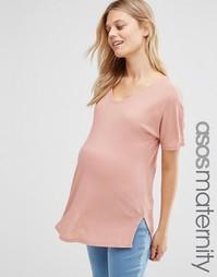 Свободная футболка в рубчик с V‑образным вырезом ASOS Maternity - Clay
