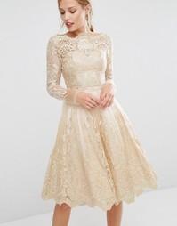 Кружевное платье миди цвета золотой металлик Chi Chi London - Золотой