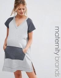 Трикотажное платье для беременных с глубоким вырезом Bluebelle Materni