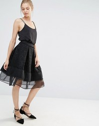 Кружевная юбка миди с сетчатой вставкой Endless Rose - Черный