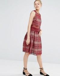 Кружевная плиссированная юбка Endless Rose - Burgundy