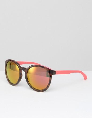 Круглые солнцезащитные очки с розовыми зеркальными стеклами CK Jeans