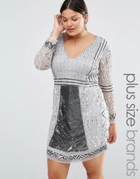 Цельнокройное платье с длинными рукавами Lovedrobe Luxe - Серебряный