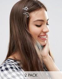 2 заколки для волос с месяцем и звездой ASOS - Родий
