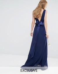 Платье макси с бантом на спинке TFNC WEDDING - Темно-синий