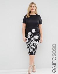 Платье-футболка с однотонным цветочным принтом ASOS CURVE