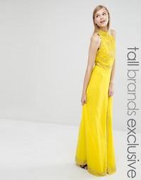 Платье макси с высокой горловиной и отделкой Maya Tall - Желтый