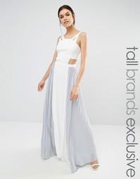 Платье макси с вырезами и контрастной юбкой плиссе True Decadence Tall